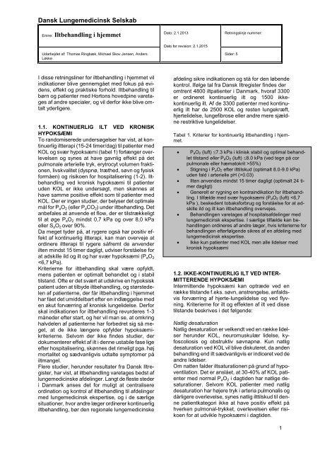 Iltbehandling - Dansk Lungemedicinsk Selskab