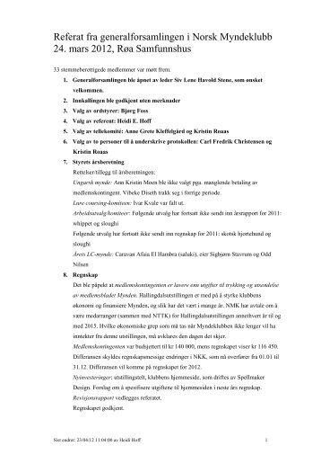 Referat fra generalforsamlingen i Norsk Myndeklubb 24. mars 2012 ...
