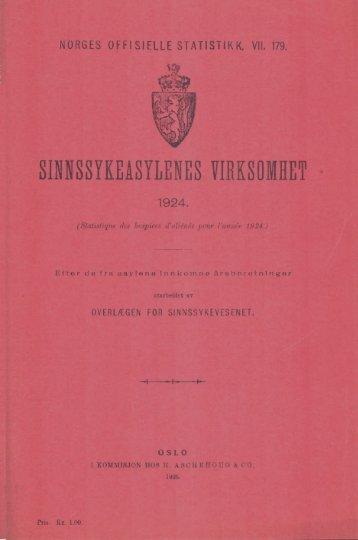 Sinnssykeasylenes virksomhet 1924.
