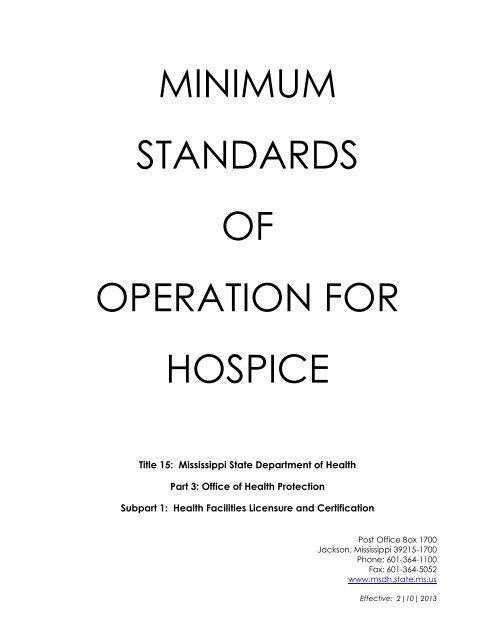 minimum standards of operation for hospice - Mississippi State ...
