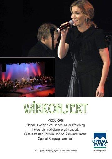 Program for konserten - Oppdal Musikkforening