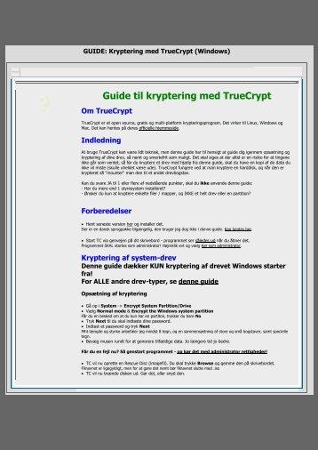 GUIDE: Kryptering med TrueCrypt (Windows) - Nusens Hjemmeside