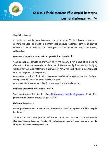 Comité d'Etablissement Pôle emploi Bretagne Lettre d'information n°4