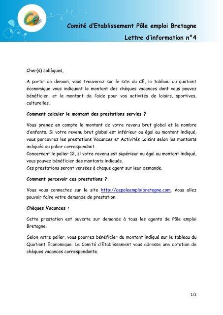 Comite D Etablissement Pole Emploi Bretagne Lettre D