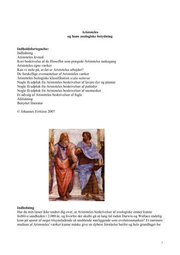 Aristoteles og hans zoologiske betydning Indholdsfortegnelse ...