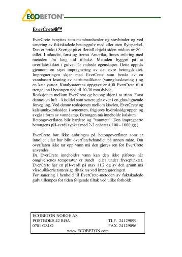Informasjon om EverCrete - kvam agentur as