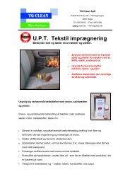 U.P.T. Tekstil imprægnering - TG-CLEAN ApS
