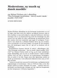 Modernisme, ny musik og dansk musikliv - dansk musikforskning ...