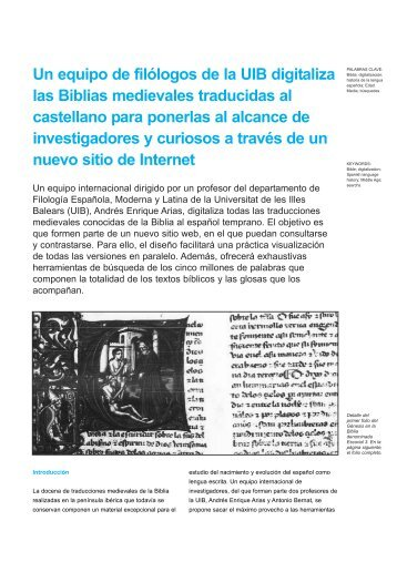 Un equipo de filólogos de la UIB digitaliza las Biblias