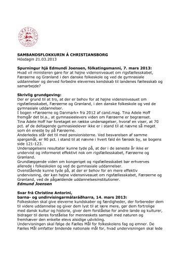 Hvad v - Sambandsflokkurin á Christiansborg