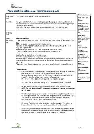Postoperativ modtagelse af mammapatient på A5 - OUH.dk
