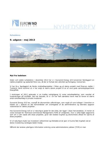 Nyhedsbrev maj 2013 - Eurowind Energy A/S