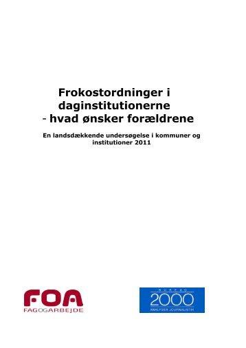 Frokostordninger i daginstitutionerne - Københavns Madhus