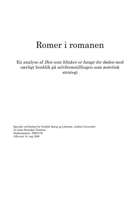 Romer i romanen - Aarhus Universitet
