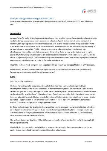 Svar på spørgsmål modtaget 05-09-2012 - Hillerød Forsyning