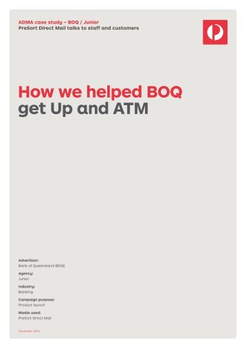 How we helped BOQ get Up and ATM - Australia Post