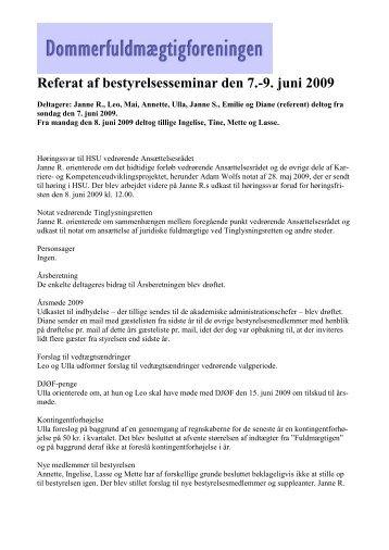 Referat af bestyrelsesseminar den 7.-9. juni 2009