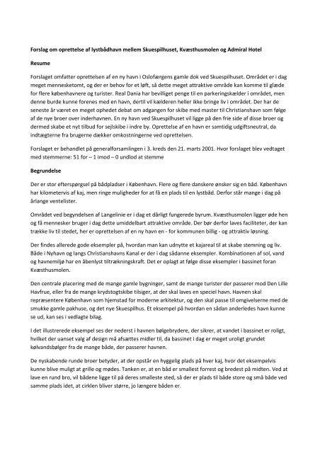 Forslag om ny Amaliehavn - Socialdemokraterne i indre by - 3. kreds