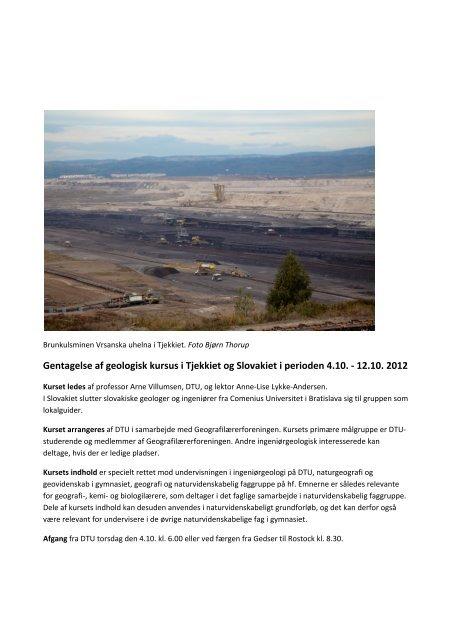 Gentagelse af geologisk kursus i Tjekkiet og Slovakiet i perioden ...