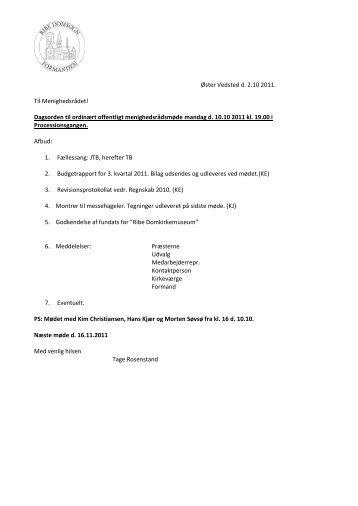Øster Vedsted d. 2.10 2011. Til Menighedsrådet ... - Ribe Domkirke