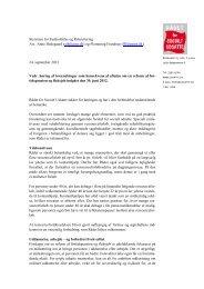 Rådets høringssvar af lovændringer som konsekvens af aftalen om ...