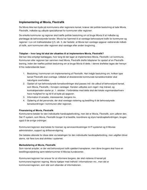 Implementering af Movia, Flextrafik