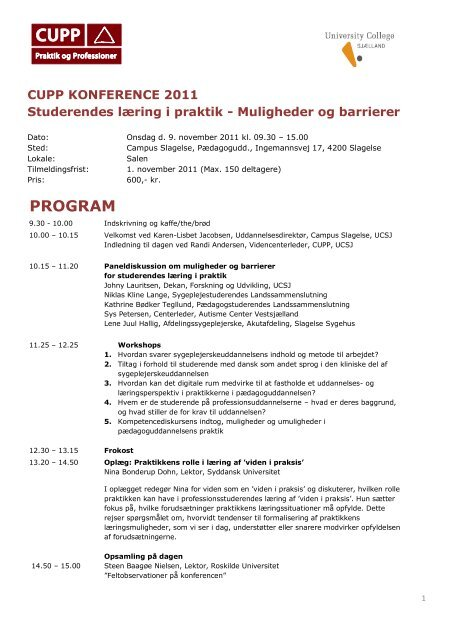 PROGRAM - University College Sjælland