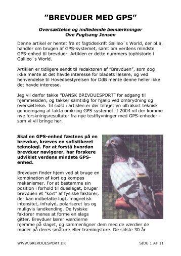 Hjemkomst med GPS - Dansk Brevduesport