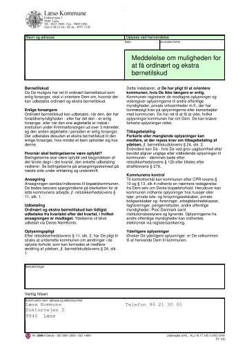 Meddelelse om muligheden for at få ordinært og ... - Læsø Kommune