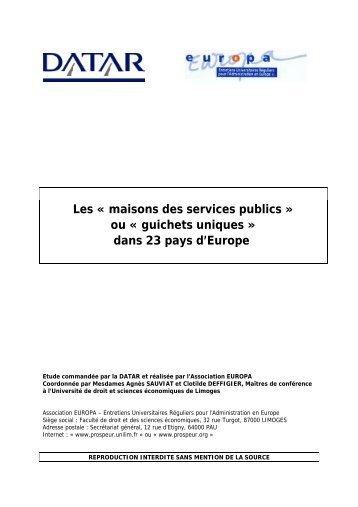 Les « maisons des services publics » ou « guichets uniques ... - Datar