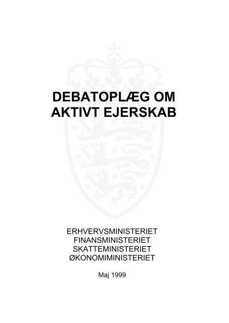 Debatoplæg om aktivt ejerskab - Finansministeriet
