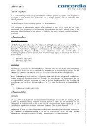 Oversigt over gebyrer 2012 - Concordia Forsikring