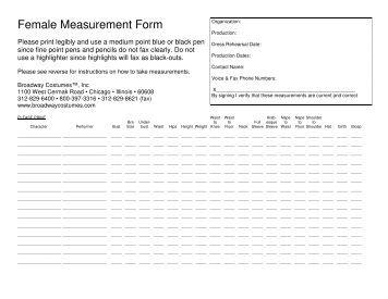 costume measurement sheet template