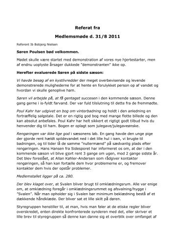 Referat fra Medlemsmøde d. 31/8 2011
