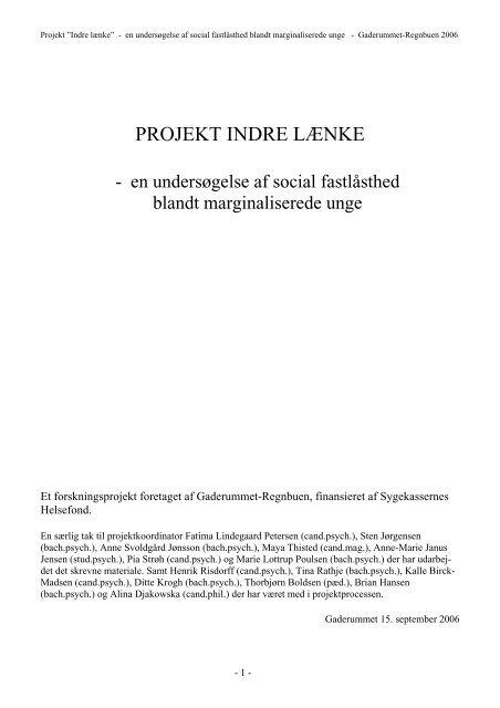 """Projekt """"Indre lænke"""" - Gaderummet"""