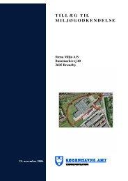 TILLÆG TIL MILJØGODKENDELSE - K?benhavns Amt