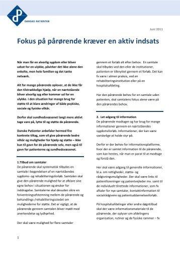 Fokus på pårørende kræver en aktiv indsats - Danske Patienter