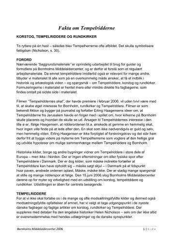 Fakta om Tempelridderne - Skattejagt Bornholm