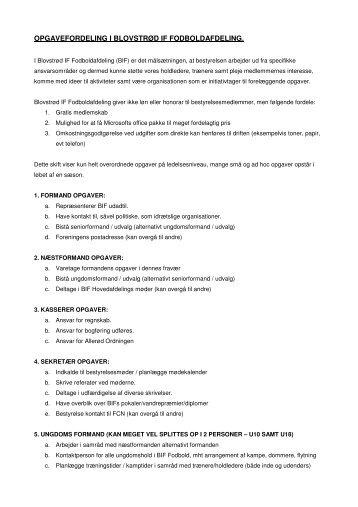 arbejdsopgaver på ledelsesniveau - Blovstrød IF Fodbold