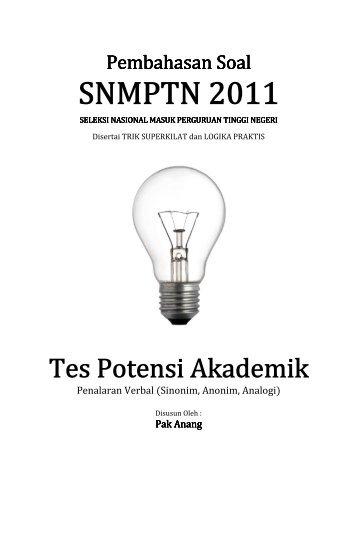 Pembahasan Soal SNMPTN 2011 Tes Potensi Akademik