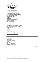 BOOK BINDERS - University of the West of England