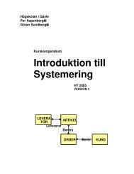 Introduktion till Systemering - Högskolan i Gävle