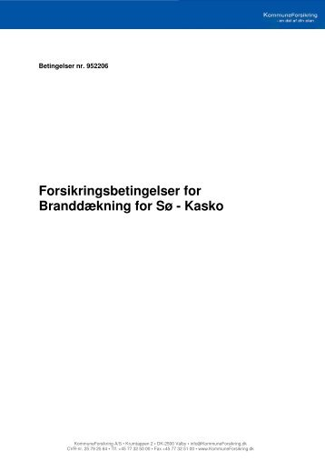 Forsikringsbetingelser for Branddækning for Sø - Kasko