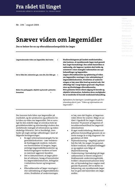 """""""Snæver viden om lægemidler"""" (PDF Format) - Teknologirådet"""
