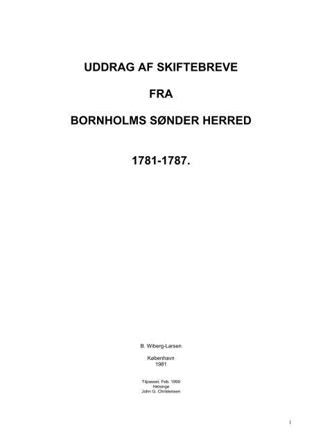 1787. Ny version af Wiberg-Larsens bog, 1981. Tilpasset til de ...