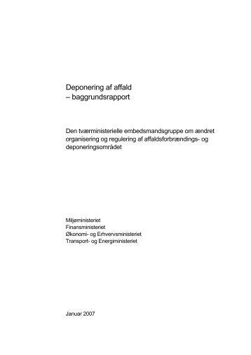 Deponering af affald – baggrundsrapport - Miljøstyrelsen