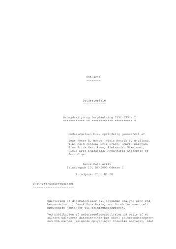 DDA-4294 -------- Datamateriale ------------- Arbejdsmiljø