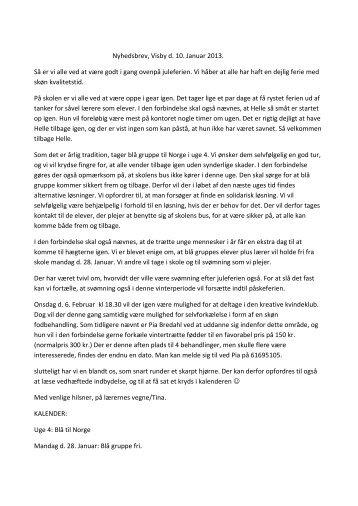 Nyhedsbrev, Visby d. 10. Januar 2013. Så er vi alle ... - Sydthy Friskole