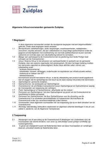 Algemene Inhuurvoorwaarden gemeente Zuidplas - Inhuurdesk ...