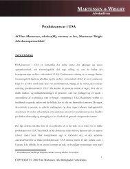 Produktansvar i USA - Martensen Wright